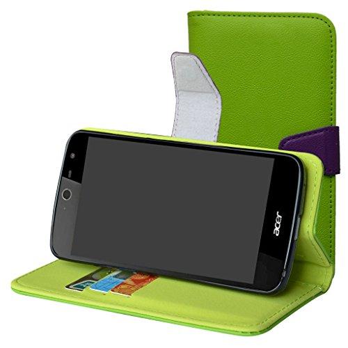 Acer Liquid Zest Hülle,Mama Mouth Brieftasche Schutzhülle Case Hülle mit Kartenfächer & Standfunktion für Acer Liquid Zest Smartphone,Grün