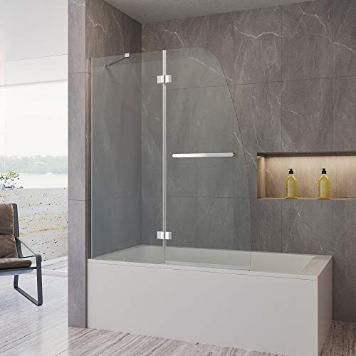 "AQUABATOS Shower Door Frameless Hinged Tub Door 48 in. W x 58 in. H, 1/4"" Safety Clear Glass with Easy Clean Function, Chrome Finish"