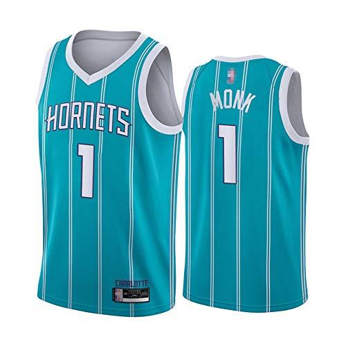 HS-XP 2021 Men's Basketball NBA Charlotte Hornets # 1 Malik Monk Jerseys, Fans Transpirables De Malla De Ocio Sin Mangas Vestir Chaleco,Azul,M(170~175cm)