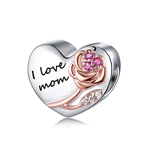 FOREVER QUEEN i love mom Charms fit Bracelet 925 Sterling Silver Love Heart...