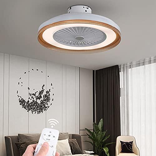 Dagea Moderno Ventilador de Techo con Iluminación y Mando a Distancia Temperatura del Color Regulable Dormitorio Invisible Ventilador Lámpara de Techo Pantalla acrílica Bajo Nivel de Ruido,Marrón
