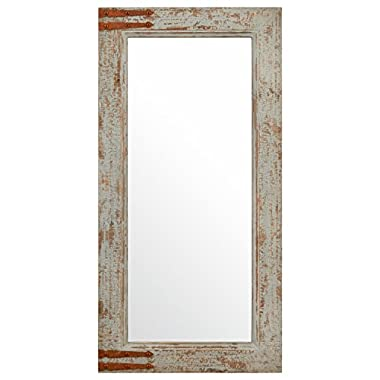 Stone & Beam Vintage-Look Rectangular Frame Mirror, 36.25  H, Grey