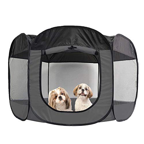 Furhaven Pet Playpen - Indoor-Outdoor Mesh Open-Air Playpen and Exercise Pen Tent House Playground for Dogs and Cats, Gray, Extra Large