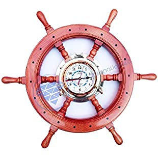 Premium Pine Wood Deluxe Hand Crafted Pirate's Ship Wheel Porthole Time Tide Clock - Captain Maritime Beach Home Decor Gift - Nagina International (72 Inches)