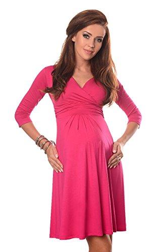 Purpless Maternity maternité et Robe de Grossesse v-Cou 4400 (46 (UK 18), Hot Pink)