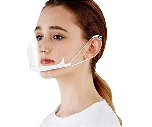 MINASAN 10 Stück Transparente Offene Maske/Mundschild, Food Handler Maske, Professionelle Transparente Gesundheitsschutzmaske Für Restaurant, Permanent Make-up, Catering (schwarz, 14 * 10.5CM)