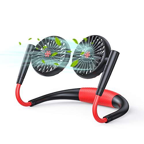 SmartDevil Ventilador Portátil, Ventilador USB con 360 ° + 180 ° de Ajuste Recargable Mini Ventilador USB de Manos Libres con Banda para el Cuello, para Oficina, Hogar, Viajes, Deporte (Negro)