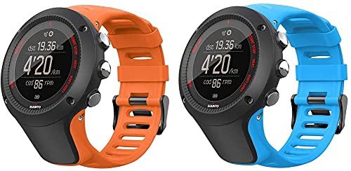 Chainfo Repuesto de Correa de Reloj de Silicona Compatible con Suunto Ambit3 Peak/Ambit 2 / Ambit 1, Caucho Fácil de Abrochar para Relojes y Smartwatch (Pattern 2+Pattern 6)