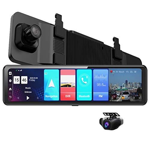 Flashing 12 Pulgadas de Espejo de Coches Android 8.1 DVR Dash Cámara 1080P Cámara Dual WiFi GPS Navegación remota Auto Video Vigilancia (Color : with 64G Card, Size : Z71-4G)