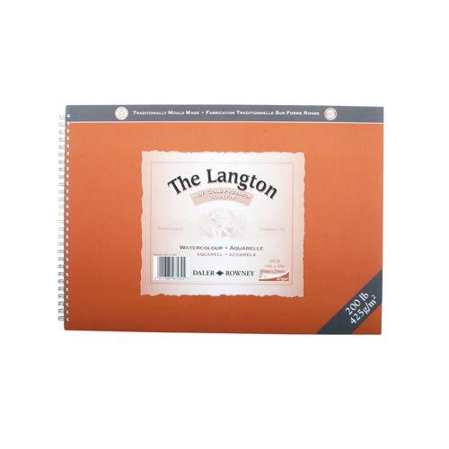 Daler Rowney: Langton: Pad de Hojas de Papel Para Acuarelas 355 x 254mm, Not (Sin Textura) 12 Hojas 425gms. (Espiraladas)