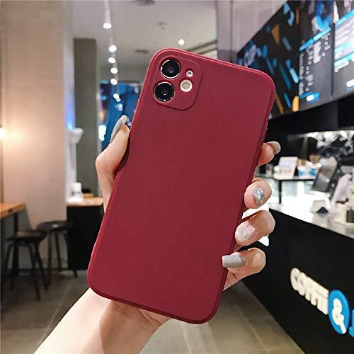 LIUYAWEI Funda de teléfono de Silicona Cuadrada Color Caramelo para iPhone 11 Pro MAX XS MAX XR X 6 6S 7 8 Plus SE 2020 Protección de cámara, Rojo Vino, para iPhone 7 Plus
