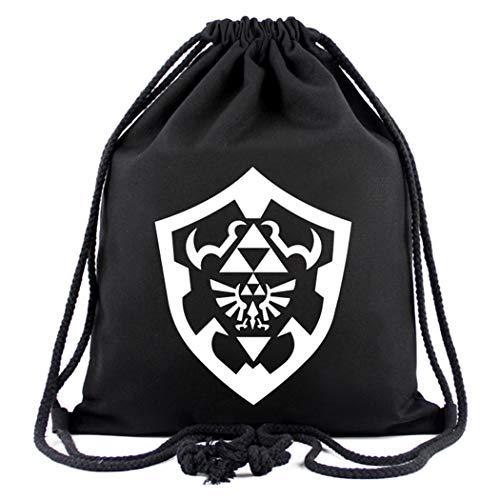 Cosstars The Legend of Zelda Game Sporttasche Turnbeutel Training Tasche Gym Sack Drawstring Bag Schwarz-3