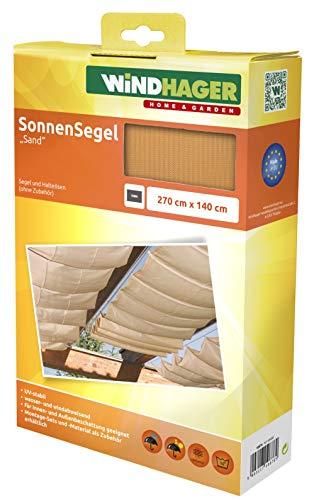 Windhager Toldo Vela de protección Solar tecnología de tensado de Cables 270 x 140 cm, Ideal para pérgola o Invernadero, Arena, 10876