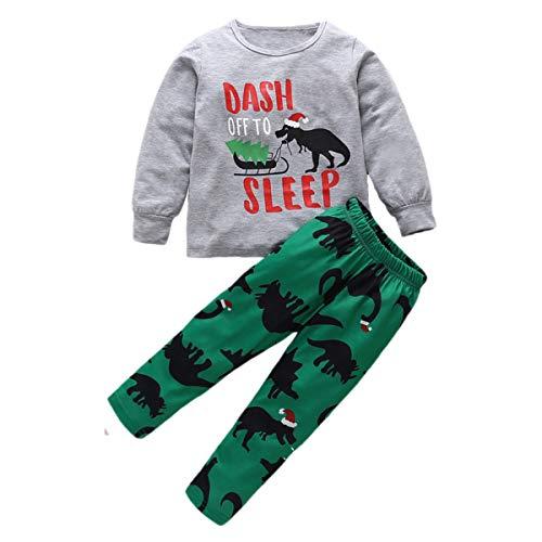 greatmtx 2 unids/Set niños Pijamas de bebé Conjunto de Dibujos Animados Dinosaurio Imprimir Ropa de Dormir Pijamas Navidad Homewear