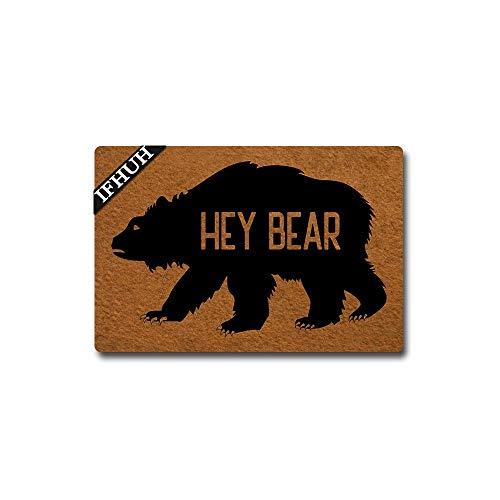 IFHUH Hey Bear Door Mat Funny Bear Doormat Funny Welcome Mat Front Door Mat Rubber Non Slip Backing Funny Doormat Indoor Outdoor Rug 23.6 in(W) X 15.7 in(L)