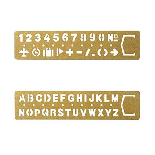 Wmchiwan Inglese Alfabeti Stampo Arabo Numerali Modelli Rétro Ottone Lettera Numero Stencil con Simboli per Fai da Te Arte Disegno Segnalibri Redazione Forniture 2pcs