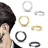 Stainless Steel Huggy Hoop Earrings - Hinged Hoop Huggie Piercing Earrings Set For Men Women,Hypoallergenic Helix Lobes Small Round Earrings (3 pairs of earrings (silver, gold, black) 0.47' (12MM))