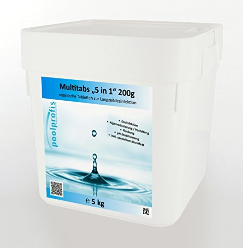 energieprofis 10 kg (2 x 5 kg) Chlor Multitabs 5 in 1 Multi Tabs Pool 200g