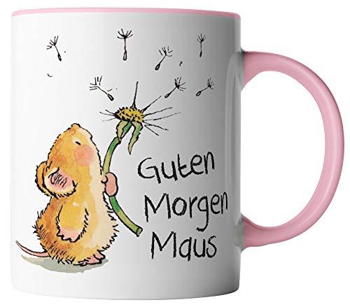 vanVerden Tasse - Guten Morgen Maus - beidseitig Bedruckt - Geschenk Idee Kaffeetasse mit Spruch, Tassenfarbe:Weiß/Rosa