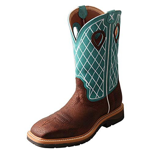 Twisted X Men's Steel Toe Lite Western Work Boot, Brown Distressed/Turquoise, 12(EE)