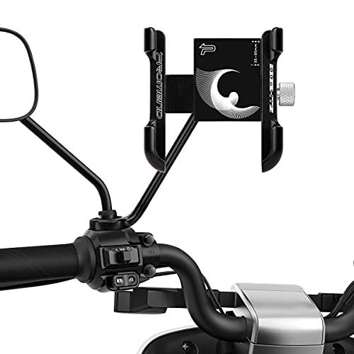 WACCET Soporte Movil Moto, Rotación 360°Soporte Movil para Moto Retrovisor Universal Anti Vibración Soporte Telefono Motocicleta Compatible para 4,0-6,7 Pulgada Smartphones