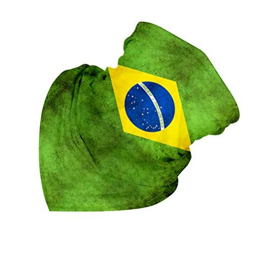 PRETYZOOM Nahtloses Schlauchtuch Schal Halstuch Gesichtsschutz Tuch Mundschutz Motor Fahrrad Winddicht Staubdicht Multifunktionstuch für Herren Damen Flaggen Muster (Brasilien)