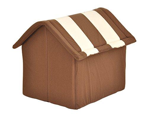 nanook Hundehaus Hundehöhle ADRIAN, Größe L mit Kissen, weicher Stoff Bezug, waschbar, warm, braun beige - 4