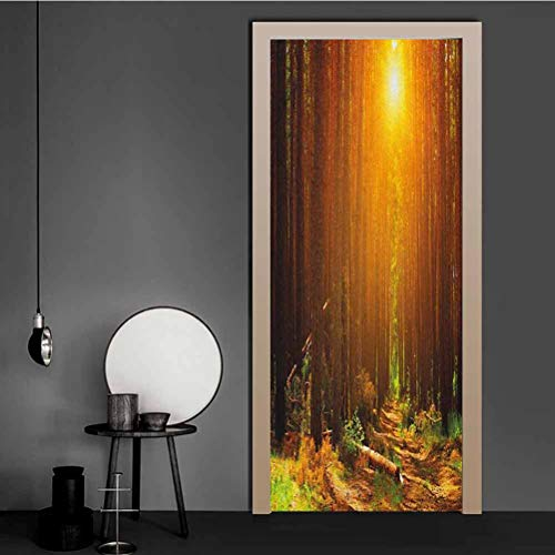 3D Door Stickers Murals Sunset Dawn Sun Rise Beams in Forest Tree Nature Plants Print Image Removable Vinyl Door Wall Mural for Business Office - Bedroom Living Room Decor Earth Dark 43.5x200 CM