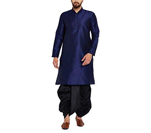 Royal Sojanya Men's Silk Dhoti Kurta Set Large Blue and Black