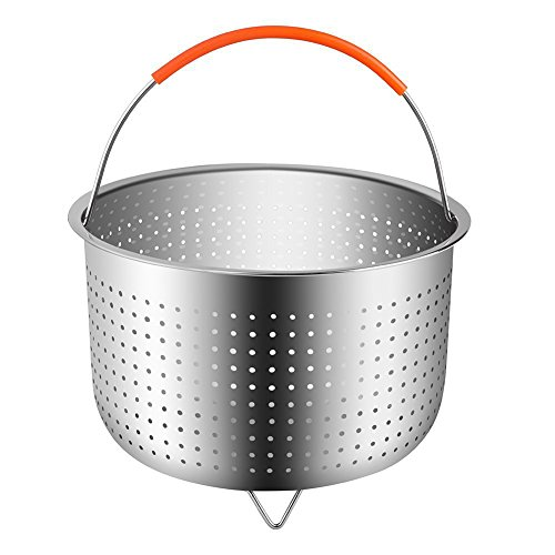 Sundlight Steamer Basket for 6 or 8 Quart Instant Pot Pressure Cooker,304 Stainless Steel Steamer Insert with Silicone Covered Handle,Great for Steaming Vegetables Fruits Eggs