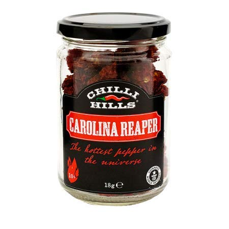 Chilli Hills CAROLINA REAPER Dried Hot Chili Peppers. Worlds Hottest Chillies grown in our Family Farm and precisely dehydrated to preserve the flavour. 15 to 18 whole pods in a Glass Jar