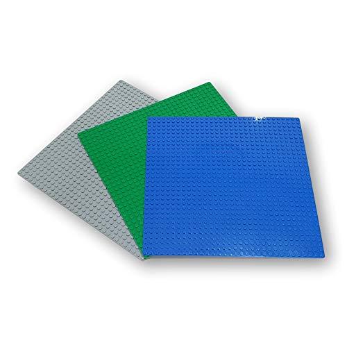 WANGE Placa Base clásica para Bloques de construcción. Compatible con Las Principales Marcas. 3 Placas 25 x 25 cm., 32 x 32 Puntos