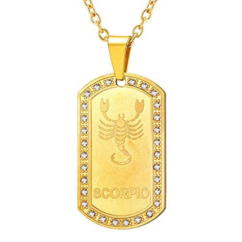 U7 Damen Herren Sternzeichen Skorpion Kette 18k vergoldet Sternbild Dog Tag Erkennungsmarke mit Kristall Horoskop Astrologie personalisiert Anhänger mit Rolokette Trendiger Schmuck Accessoire