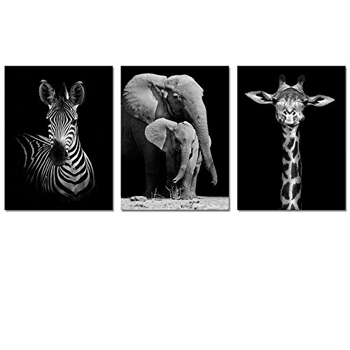 Visual Art Decor Modern Black and White Canvas Wall Art,Animals Picture Prints,Elephant,Zebra,Giraffe Painting Printed