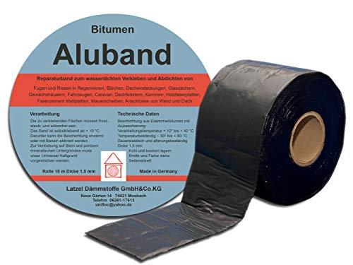 Bitumen Aluband Reparaturband Dichtband Farbe Schwarz 100 mm - Rolle 10 Meter. Hergestellt in Deutschland.