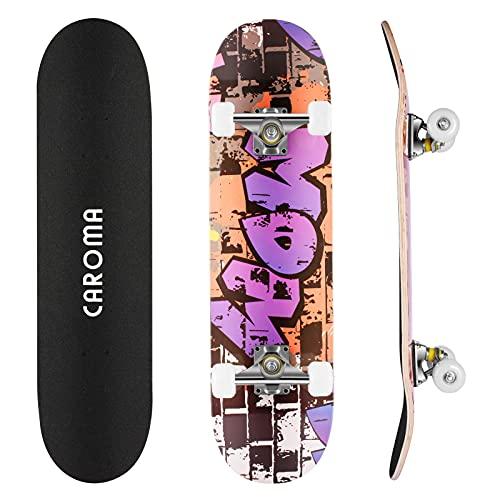 CAROMA Skateboard per Principianti, 31 Pollici 9 Strati Maple Deck Pro Skateboard Completo Double Kick Concave Skateboard con Ruote in PU antiurto per Bambini Adulti Ragazzi Ragazze (Words MOM)