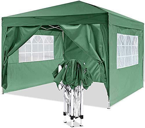 Gazebo emergente por un marco de metal robusto, pabellón pesado, adecuado para jardín, terraza, mercado de pulgas, boda, fiesta de cumpleaños,Green-3x3m