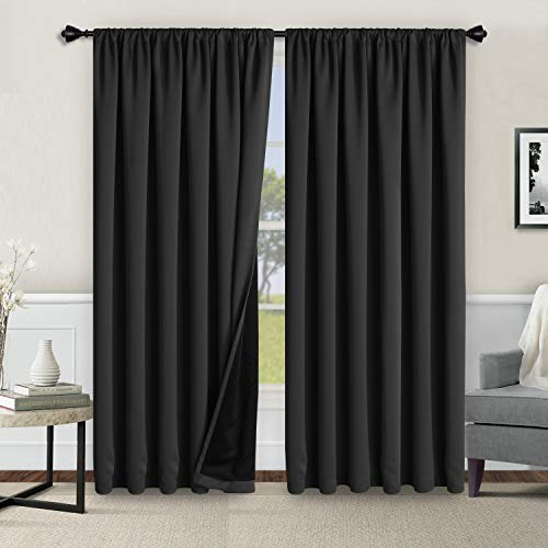 WONTEX 100% Thermal Blackout Curtains for Bedroom - Winter Insulating Rod Pocket Window Curtain Panels, Noise Reducing and Sun Blocking Lined Living Room Curtains, Black, 52 x 84 inch, Set of 2