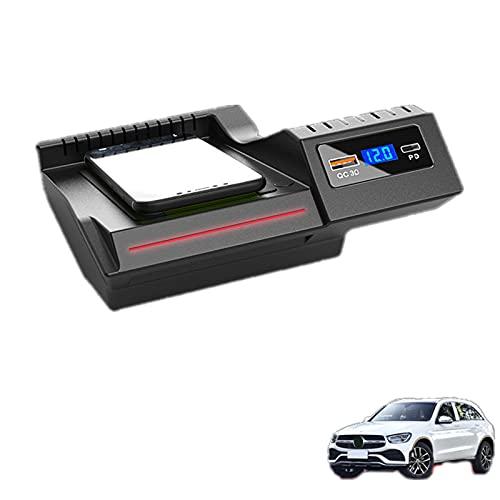 Paobiy El cargador inalámbrico del coche es aplicable para el panel de accesorios de la consola central GLC 2016-2021 de Mercedes Benz C-class GLC 2016-2021, cargador de teléfono de carga rápida.