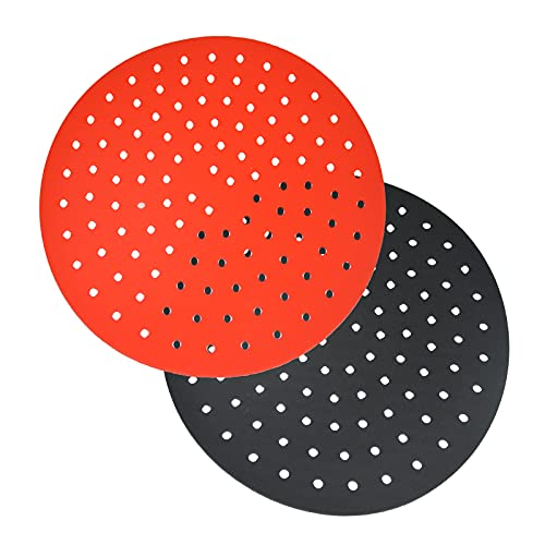 Reusable Air Fryer Liners – 9 Inch Round Food-Grade Silicone Air Fryer Mats, Air Fryer Accessories for INSTANT VORTEX, COSORI, POWER XL, NUWAVE, Replacement for Parchment Paper (Black+Red)
