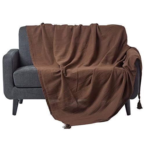 Homescapes große Tagesdecke Rajput, braun, Wohndecke aus 100% Baumwolle, 225 x 255 cm, Sofaüberwurf/Couchüberwurf in RIPP-Optik