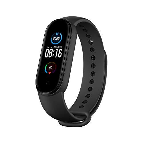 Xiaomi Mi Band 5 Pulsera de Actividad, Monitores de Actividad, Pantalla Pulsómetro Fitness Tracker,  Smartwatch con 0.95  Pantalla AMOLED a Color, con iOS y Android, Negro( Versión Global)