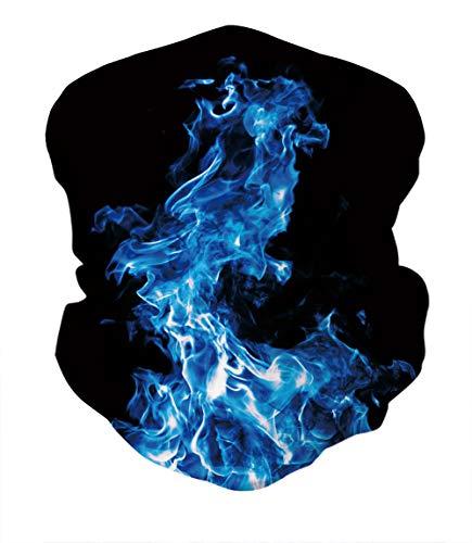 Men Women Seamless Bandana Cool Blue Smoke Face Cover 3D Tube Headband Scarf Neck Gaiter for Dustproof Outdoors Sports
