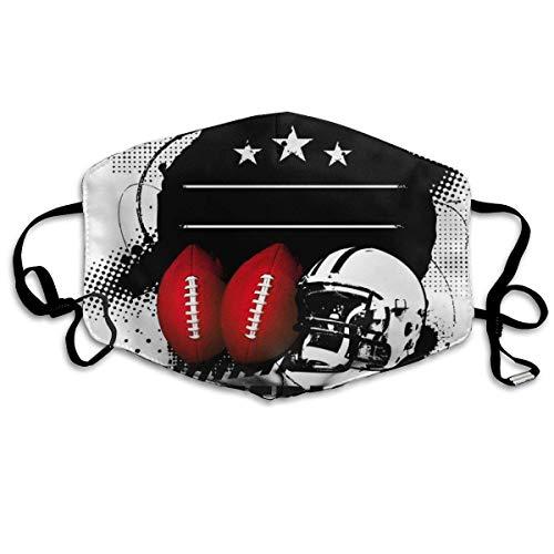 Bequeme Winddichte Maske, American Football-Thema Grunge suchen Retro-Komposition mit Bällen für Erwachsene