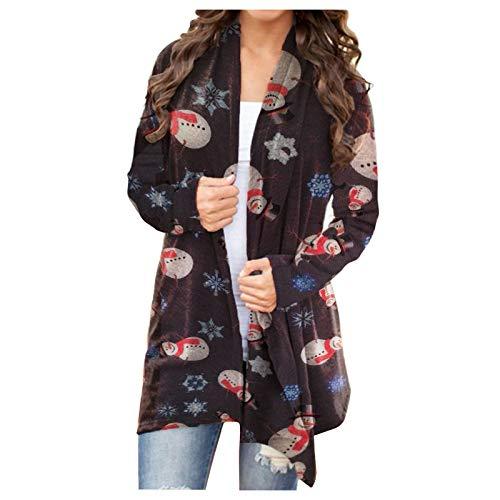 Directtyteam, cardigan da donna con stampa digitale, a maniche lunghe, con orlo flusso, cardigan da donna Bsnowman3 Small