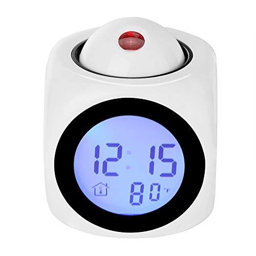 Myfei Projectiewekker, LED Desk Clock met voice LCD Digitale talking-functie, alarm, snooze, temperatuur, tijd (12h/24H) weergave
