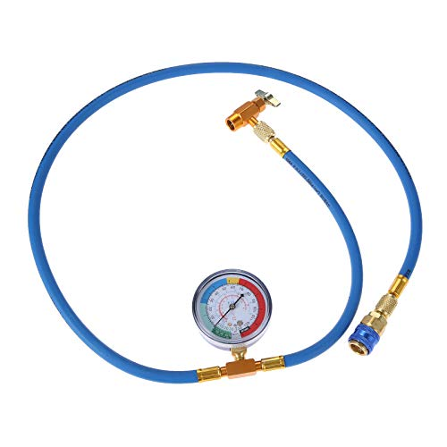 Aupoko R134A Car AC Refrigerant Charge Hose, AC Charge Hose with Gauge, R134A Can Tap Valve, R134A Quick Couple, Low Pressure Gauge and 59'' Recharge Hose
