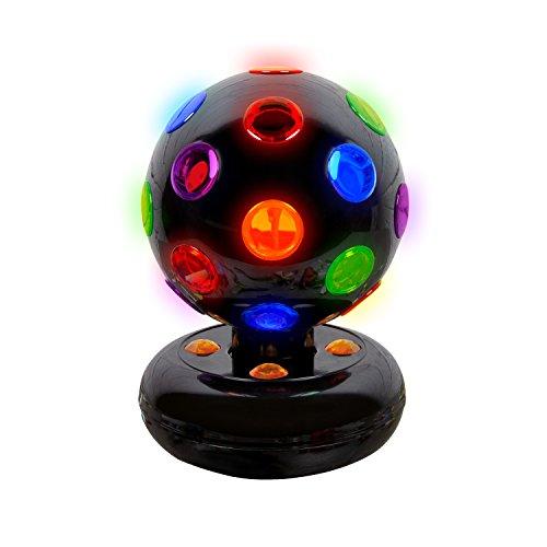 Global Gizmos–5pulgadas giratoria funciona con pilas LED de bola de discoteca. De plástico, negro