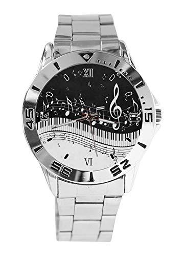 Orologio da polso da donna, stile casual, con cinturino in acciaio inox, analogico, al quarzo, con note musicali
