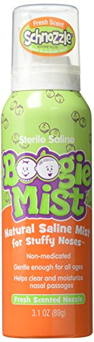 Saline Nasal Spray for Baby and Kids by Boogie Mist, Decongestant, Made with Sterile Saline, Safe for Newborn, Fresh Scent, 3.1 Ounce, Transparent (816167010741)